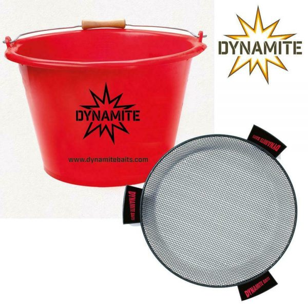 DYNAMITE BAITS 17ltr MIXING BAIT BUCKET PLUS COVER & RIDDLE