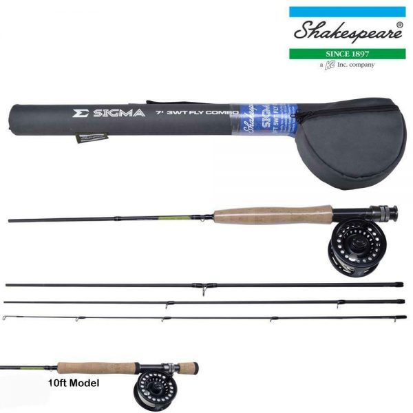 SHAKESPEARE SIGMA FLY FISHING ROD COMBO WITH REEL LINE 10ft#7