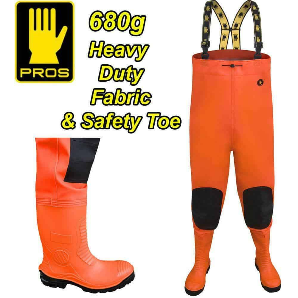PROS 680g  SAFETY HI-VIS DELUXE HEAVY DUTY CHEST WADERS