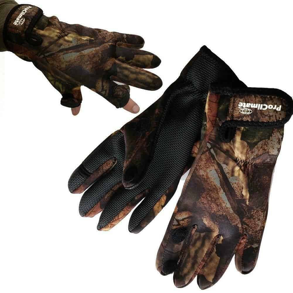 PRO CLIMATE CAMO FISHING HUNTING SHOOTING GLOVES