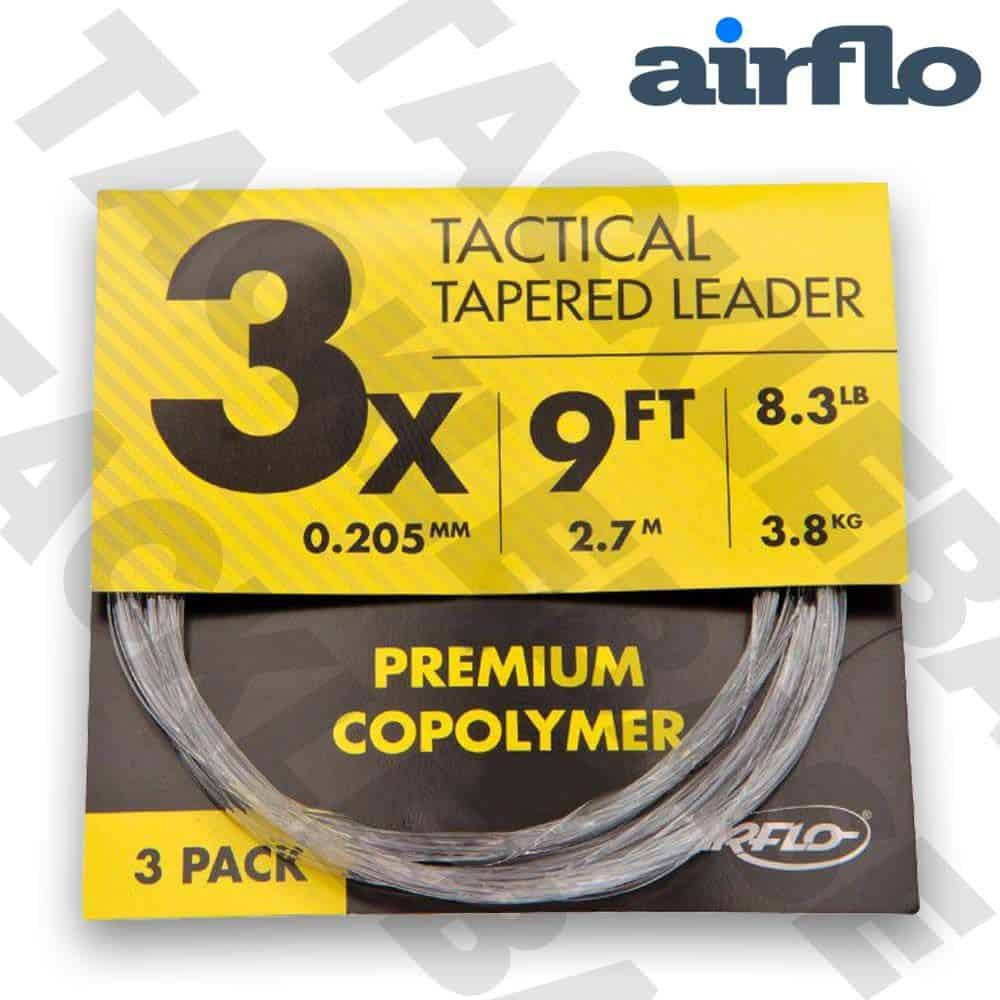 AIRFLO TACTICAL MONO TAPERED LEADERS – 9FT – 3 PACK
